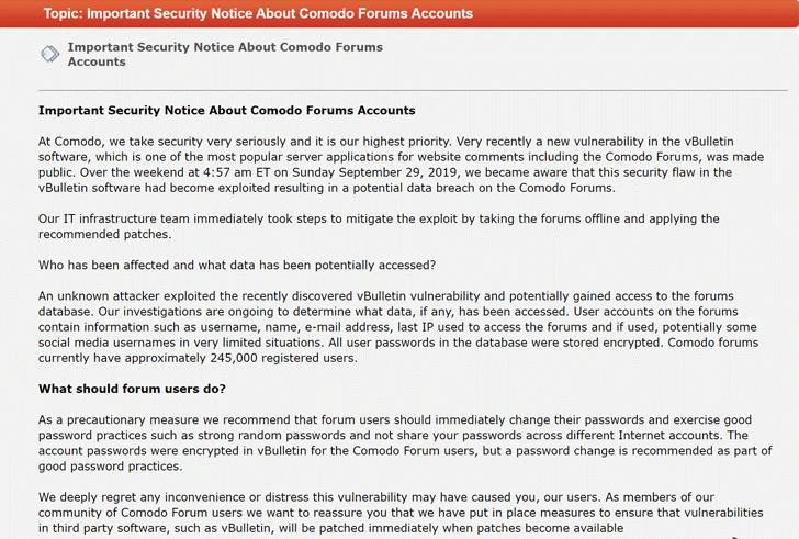 Comodo vbulletin forums hacked